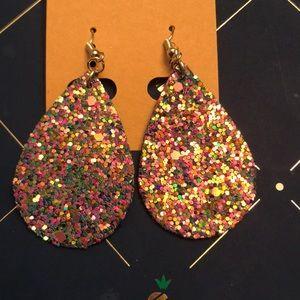 Pink multicolor teardrop earrings